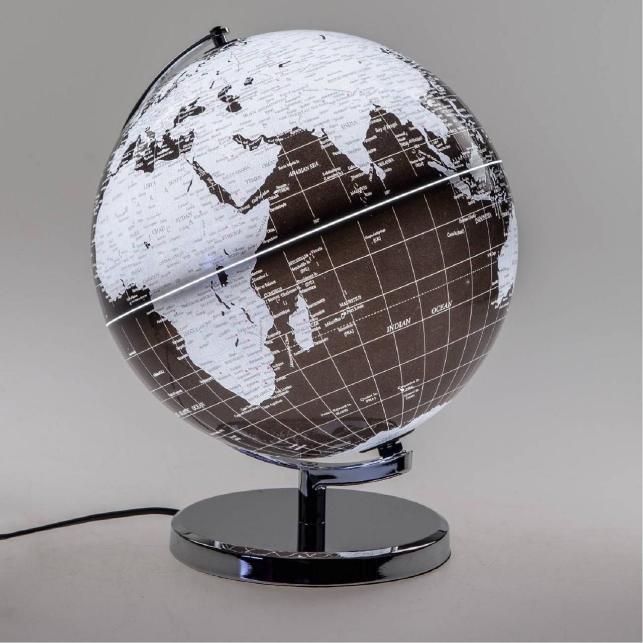 Dekoobjekt, Lampe Globus D. 30cm mit Licht schwarz silber Formano
