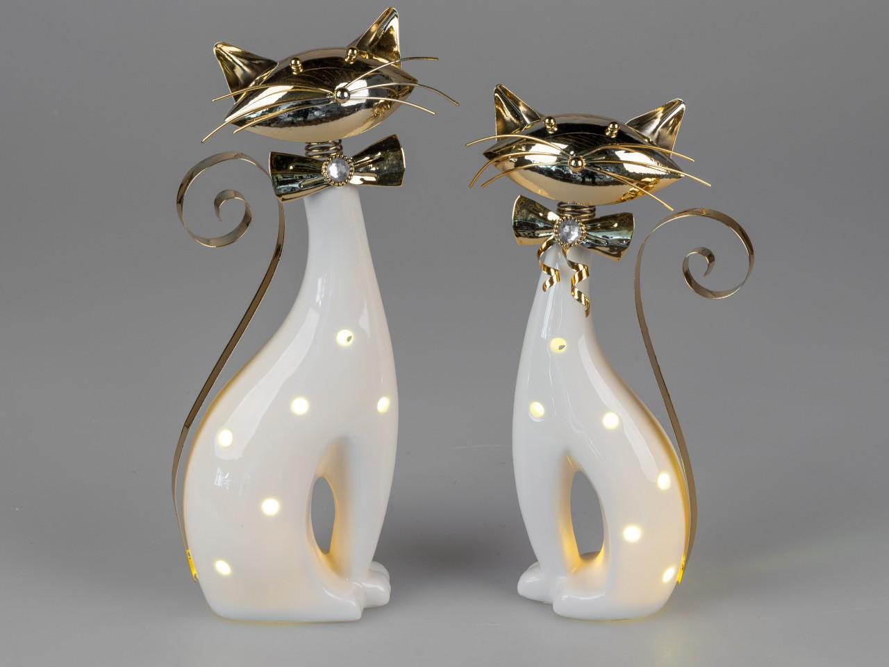 15cm schwarz weiß gold Keramik Formano 2er Set Dekofiguren Spardosen Katzen H