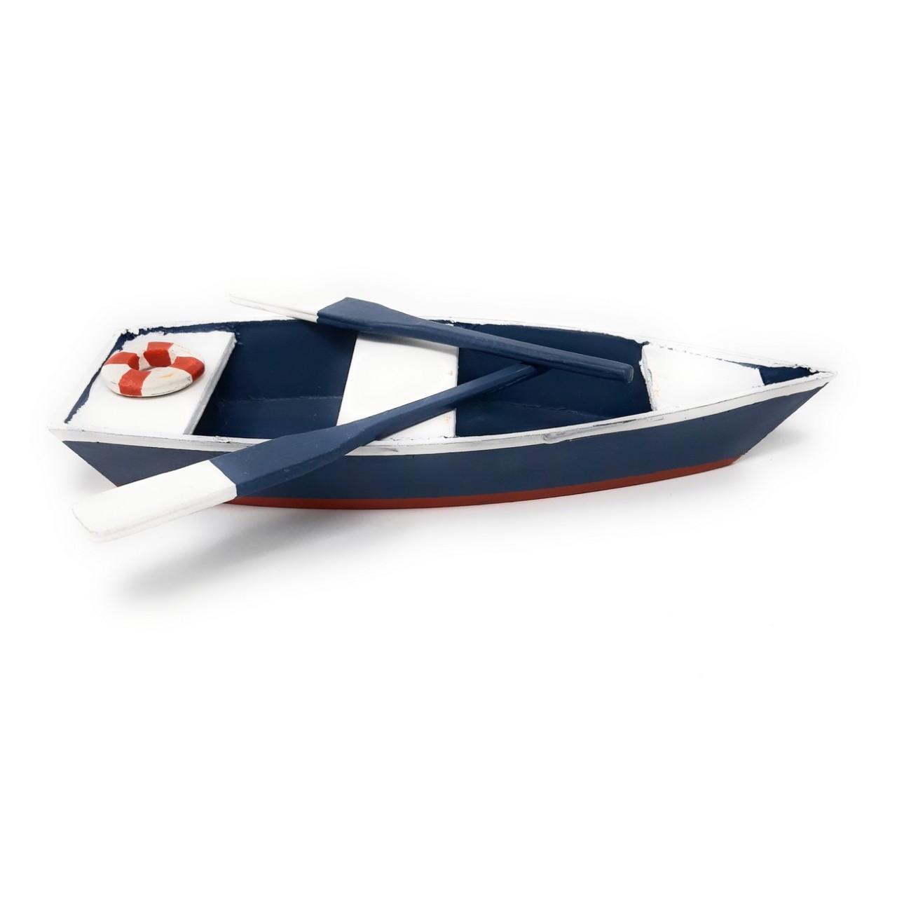 30cm Holz mit Licht weiß blau Formano 18cm H Dekoobjekt Segelboot Schiff L
