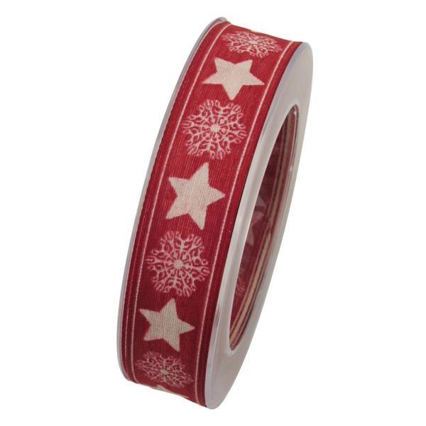 20m Rolle Goldina 1m=0,35EUR Schleifenband mit Drahtkante STERNE 25mm rot weiß