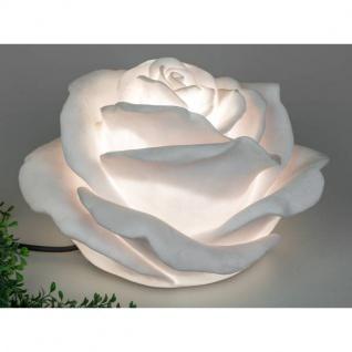 wetterfeste outdoor Gartenlampe Kugel Leuchte ROSENBLÜTE H. 35cm weiß Formano