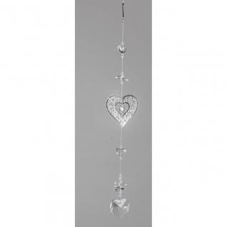 Deko Hänger, Girlande HERZEN L. 35cm Metall + Kristallglas Formano