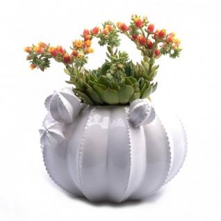Übertopf CACTUS in Kaktusform D. 20cm H. 16, 5cm weiß Keramik Hendriks Deco