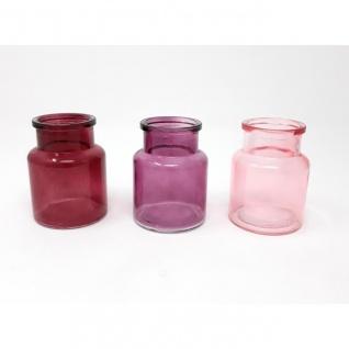 3er Pack mini Flaschenvasen BOTTLE in Box rose rosa H. 7, 5cm D. 5, 5cm Sandra Ric