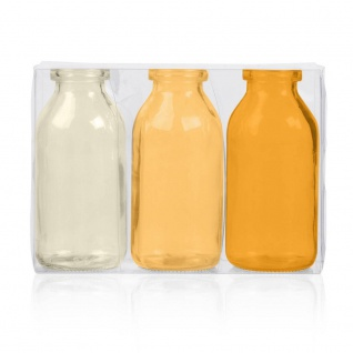 24x 3er Pack Flaschenvasen BOTTLE H. 10cm D. 5cm gelb orange Glas Sandra Rich