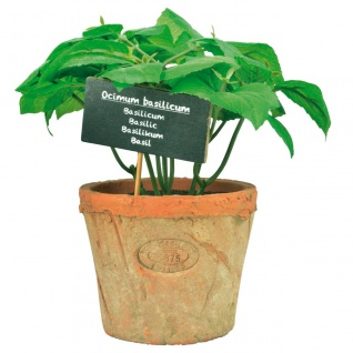 Kunstpflanze Kunst-Basilikum in AT Topf Terracotta 10, 6x10, 6x19cm Esschert Desig
