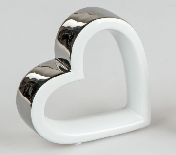 Dekobjekt, Skulptur liegendes Herz 12x12cm weiß silber Keramik Formano