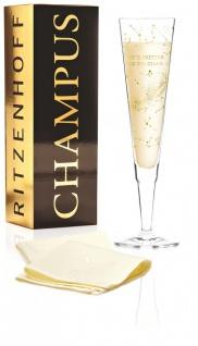 Ritzenhoff CHAMPUS Champagnerglas Sternenbild mit Stoffserviette Selli Coradazzi