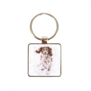 Schlüsselanhänger WALKIES Hund  4x4cm weiß grau Metall silber Wrendale Design
