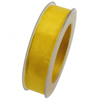 Organzaband mit formstablier Kante 25mm gelb 20m Rolle (1m=0, 40EUR) Goldina