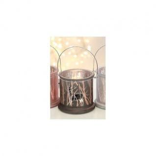 Windlicht 2er Set aus Glas silber braun 11x9cm Pajoma WA Teelichthalter