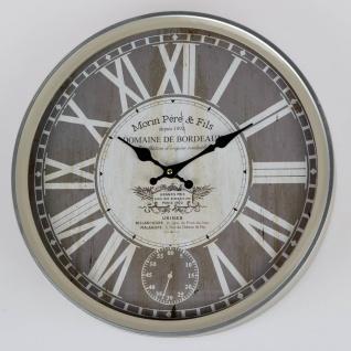 Wanduhr ANTIK rund D. 40cm grau braun Metall + Glas Formano