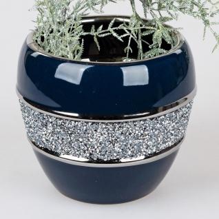 Deko Vase NACHTBLAU STRASS H. 16cm D. 16cm blau silber Keramik Formano