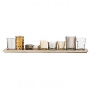 Teelichthalter + Vasen auf Tablett L. 50cm 9 teilig orange Bloomingville