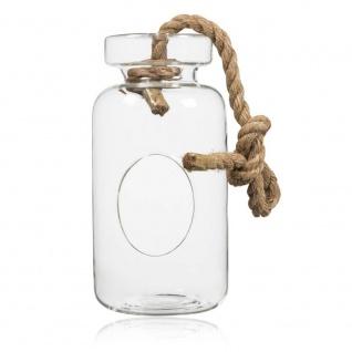Hängevase BOTTLE FLASCHE mit Öffnung und Kordel H. 18cm D. 10cm Glas Sandra Rich