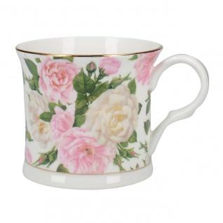 Kaffee Tasse Henkelbecher Rosen Punkte Creme oder Rosa Porzellan Shabby H.10 cm
