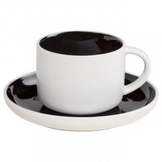 Tasse mit Untertasse TINT weiß schwarz 240ml Porzellan Maxwell & Williams