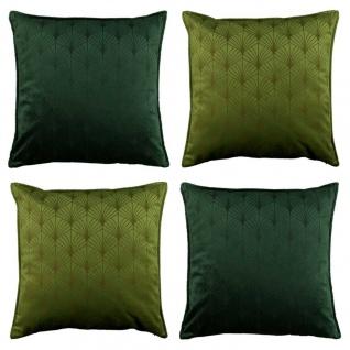 4er Set Kissenhülle Kissenbezug ART DECO 45x45cm avocado grün dunkelgrün