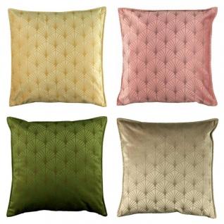 4er Set Kissenhülle Kissenbezug ART DECO 45x45cm grün, rosa, honig, taupe