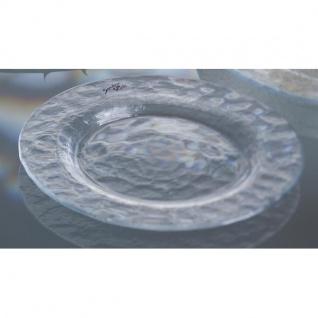 Dekoplatte, Teller Schale ICE Glas gemustert klar rund Ø 32cm H 2cm Sandra Rich