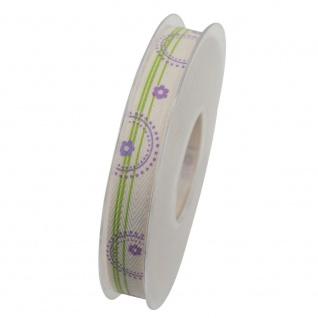 Schleifenband ALEXIS 15mm creme lila (1m=0, 40EUR) 20m Rolle Goldina WA