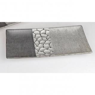 Deko Schale, Dekoteller MODERN STONES L. 31cm silber grau Keramik Formano
