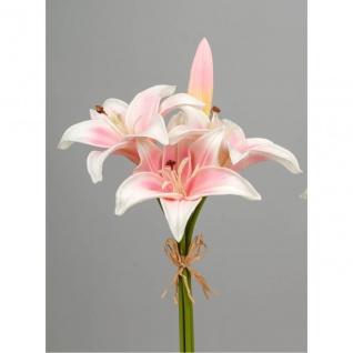 künstliche Lilien, Bund Lilien mit 4 Blüten H. cm rosa Formano WA