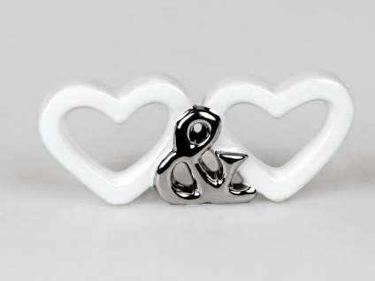 Dekoobjekt Herzen Herz & Herz Keramik weiß silber Formano