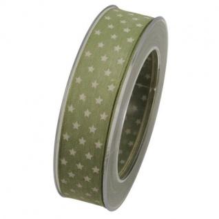 Schleifenband mit Drahtkante STERNE 25mm grün (1m=0, 33EUR) 20m Rolle Goldina WA