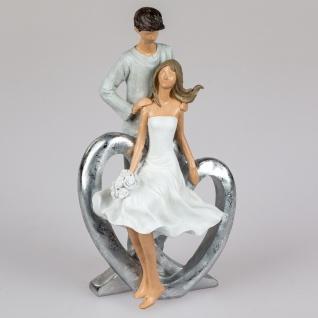 Dekofigur Paar auf Herz mit Rosen H. 24cm handbemalt weiß grau silber Formano