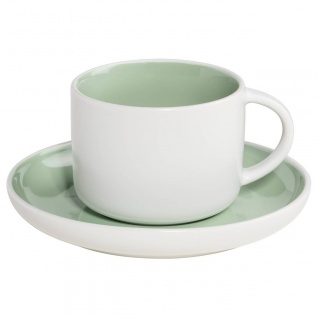 Tasse mit Untertasse TINT weiß mint grün 240ml Porzellan Maxwell & Williams