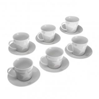 6er Set Tassen mit Untertasse STARS Sterne Weiß mit Dekor Porzellan Versa