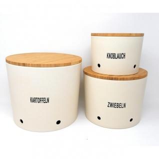 3er Set Zwiebel-, Knoblauch- & Kartoffeltopf Vorratsdosen urban grey creme