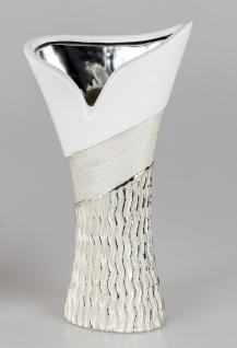 Deko Vase GOLDWAVES tulpe H. 29cm weiß champagner gold Keramik Formano W19