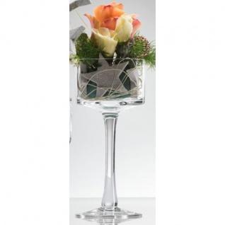 6er SET Kerzenhalter, Teelichthalter auf Fuß Glas H. 20cm D. 9cm Sandra Rich