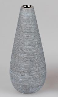 Deko Vase SILVER NATURE rund H. 28cm silber grau Keramik Formano