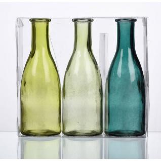 3er Pack Flaschenvasen BOTTLE H. 18, 5cm D. 6, 5cm grün Glas Sandra Rich