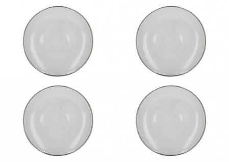 4er Set Platzteller Servierplatte MIKASA CAMEO 31cm weiß silber KitchenCraft