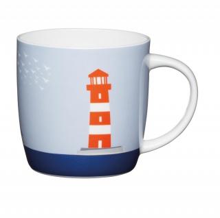 Becher, Tasse MARITIM Leuchtturm für 350ml weiß bunt Porzellan KitchenCraft