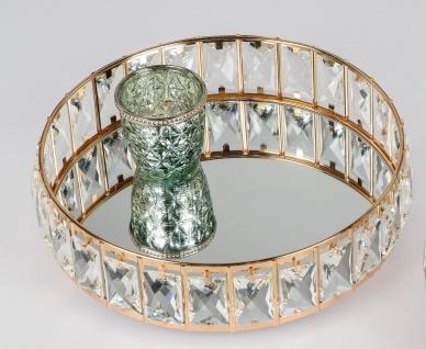 Spiegeltablett RHINESTONES GOLD rund D 30cm gold mit Kristallsteinen Formano