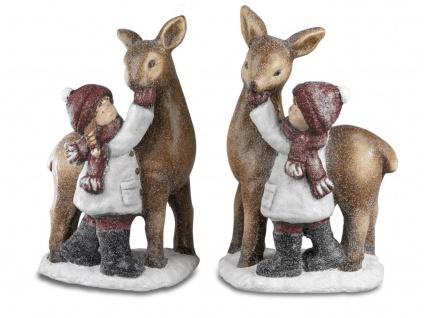 2er Set Winterkinder Mädchen + Junge mit Reh H. 45cm Formano W21