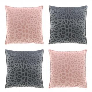 4er Set Kissen mit Füllung NALA LEO Muster 45x45cm rosa + grau Unique Living