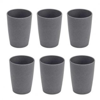 6er SET Trinkbecher, Tasse Bambus schiefer grau schwarz Magu NATUR DESIGN