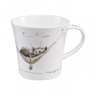 Peter Schnellhardt Tasse, Becher Katze 350ml weiß grau Porzellan Goebel