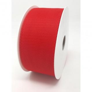 Tüllband, Schleifenband gewirkter Tüll 50mm rot 50m Rolle (1m=0, 10EUR) Goldina