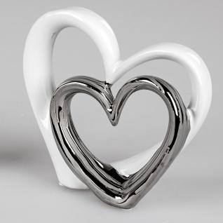 Dekoobjekt Herz an Herz stehend H. 17cm weiß silber Keramik Formano