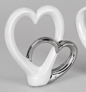 Dekoobjekt Herz in Herz stehend H. 23cm weiß silber Keramik Formano