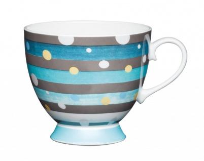 Becher, Tasse auf Fuß OMBRE Spot Stripes 400ml weiß blau Porzellan KitchenCraft