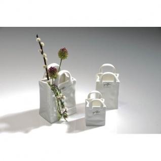 24er Set Porzellanvasen BAG TASCHE 13, 5x7, 5cm weiß Porzellan Sandra Rich