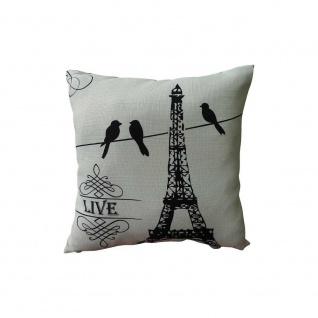 Kissen mit Füllung PARIS 45x45cm schwarz weiß Baumwolle Poly My Flair